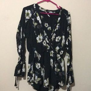 Free people black blue and green flower top